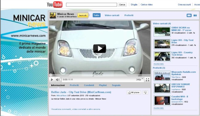 Il nuovo canale You Tube